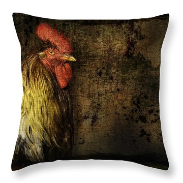Throw Pillow featuring the mixed media Rooster With Brush Calligraphy Loyalty by Peter v Quenter
