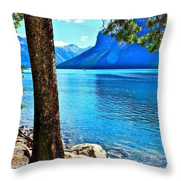 Throw Pillow featuring the photograph Rooted In Lake Minnewanka by Linda Bianic