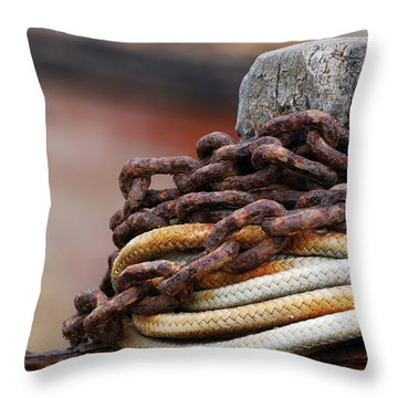 Rope And Chain Throw Pillow by Wendy Wilton
