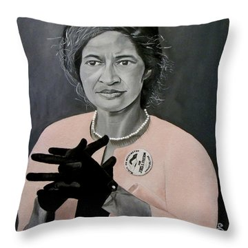 Rosa Parks Throw Pillow by Chelle Brantley