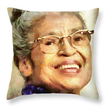 Throw Pillow featuring the painting Rosa Parks by Wayne Pascall