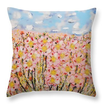 Rosa Ruby Flower Garden Throw Pillow