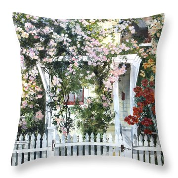 Rose Arbor Throw Pillow