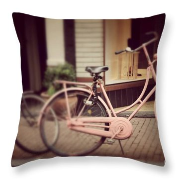 Rose Bike Throw Pillow by Mary-Lee Sanders