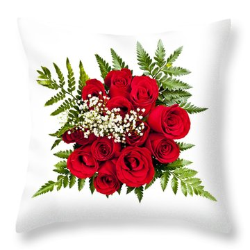 Rose Bouquet From Above Throw Pillow by Elena Elisseeva
