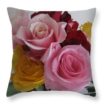 Throw Pillow featuring the photograph Rose Bouquet by Margaret Newcomb