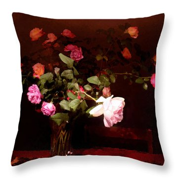 Rose Bouquet Throw Pillow by Steve Karol