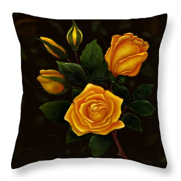 Rose Buddies Throw Pillow by Sena Wilson