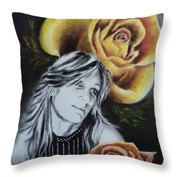 Rose Throw Pillow by Carla Carson