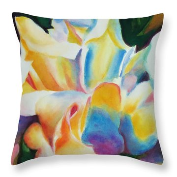 Throw Pillow featuring the painting Rose Cluster Half by Kathy Braud