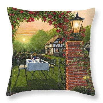 Rose Cottage - Dinner For Two Throw Pillow by Richard Harpum