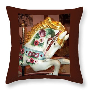 Throw Pillow featuring the photograph Rose Covered Pony by Barbara McDevitt