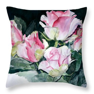 Watercolor Of A Pink Rose Bouquet Celebrating Ezio Pinza Throw Pillow