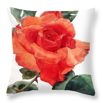 Watercolor Of A Single Red Rose I Call Red Rose Filip Throw Pillow