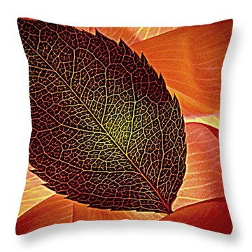 Rose Foliage On Rose Petals Throw Pillow by Chris Berry