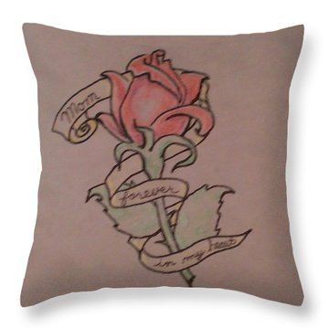 Throw Pillow featuring the drawing Rose For Mom by Thomasina Durkay