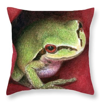 Throw Pillow featuring the painting Rose Frog by Pat Erickson