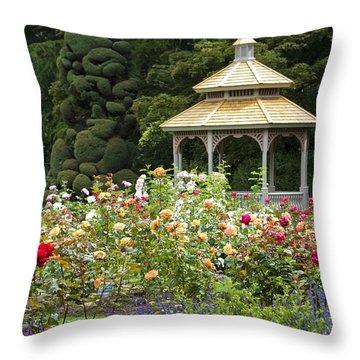 Throw Pillow featuring the photograph Rose Garden Gazebo by Sonya Lang