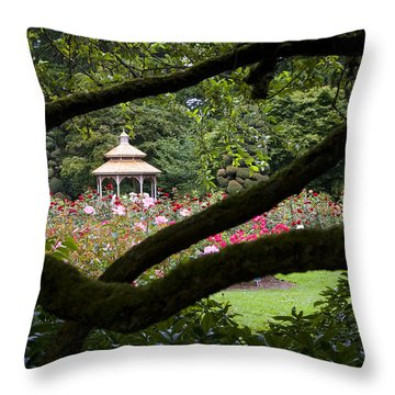 Throw Pillow featuring the photograph Rose Garden Window by Sonya Lang