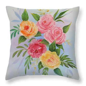 Throw Pillow featuring the painting Rose Gathering by Jimmie Bartlett