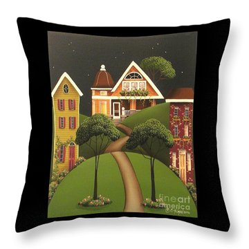 Rose Hill Lane Throw Pillow by Catherine Holman