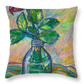 Rose In A Bottle Throw Pillow by Kendall Kessler