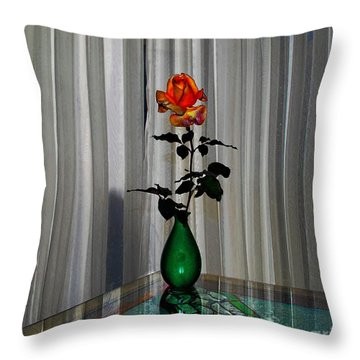 Throw Pillow featuring the photograph Rose In Front Of White Curtain by John  Kolenberg