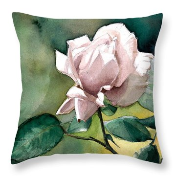 Watercolor Of A Lilac Rose  Throw Pillow