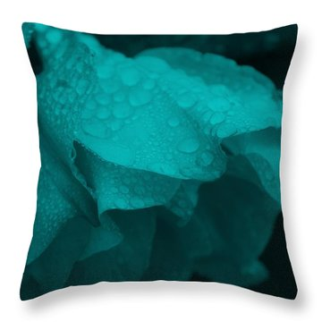 Rose In Turquoise Throw Pillow
