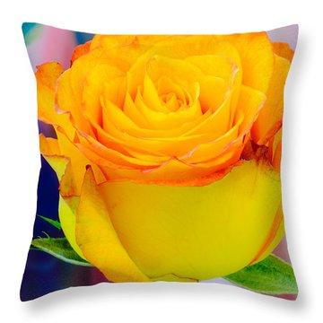 Yellow Rose Macro Throw Pillow