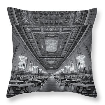 Rose Main Reading Room At The Nypl Bw Throw Pillow by Susan Candelario