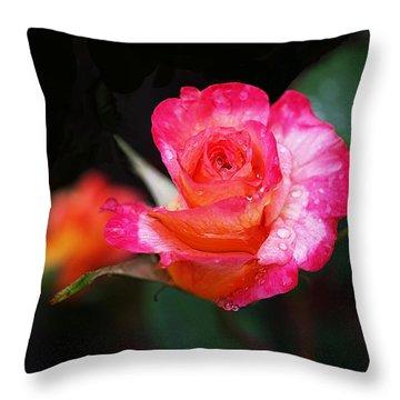 Rose Mardi Gras Throw Pillow by Rona Black