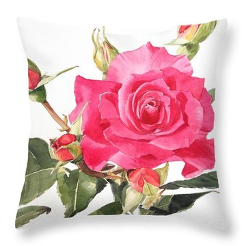 Watercolor Red Rose Margaret Throw Pillow