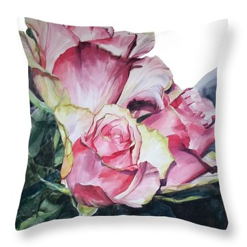 Watercolor Of A Bouquet Of Pink Roses I Call Rose Michelangelo Throw Pillow