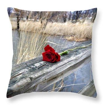 Throw Pillow featuring the photograph Rose On A Bridge by Verana Stark