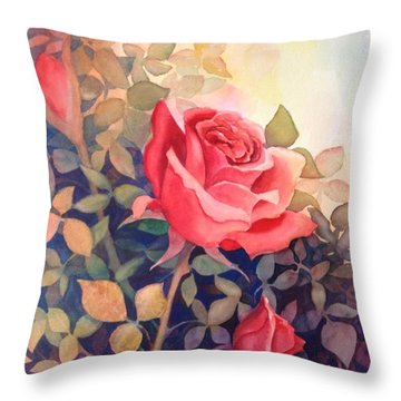 Rose On A Warm Day Throw Pillow by Marilyn Jacobson