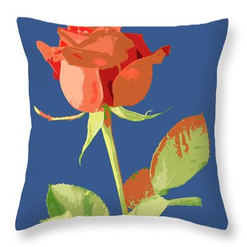 Rose On Blue Throw Pillow by Mauro Celotti