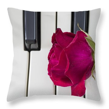 Rose Over Piano Keys Throw Pillow