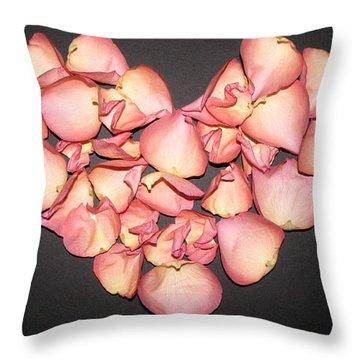 Rose Petals Heart Throw Pillow by Eva Csilla Horvath
