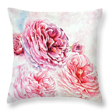 Throw Pillow featuring the painting Rose Reflection 1 by Sandra Phryce-Jones