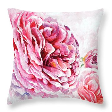 Throw Pillow featuring the painting Rose Reflection 2 by Sandra Phryce-Jones