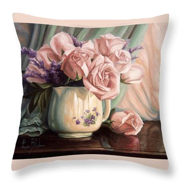 Rose Roses Throw Pillow by Lucie Bilodeau