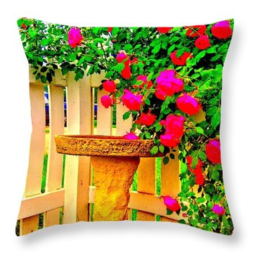 Rose Swag Throw Pillow by Margaret Newcomb