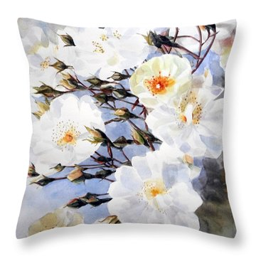 Rose Tchaikowsky A Stem Of White Roses And Buds Throw Pillow by Greta Corens