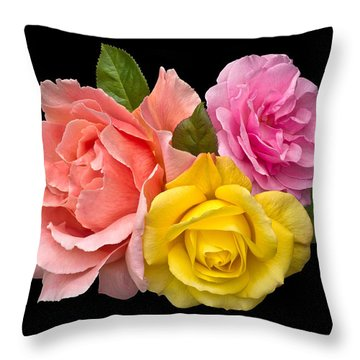 Rose Trilogy Throw Pillow by Jane McIlroy