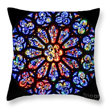 Rose Window Of Grace Cathedral By Diana Sainz Throw Pillow