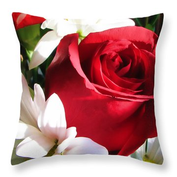 Rose With Carnations Throw Pillow