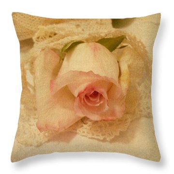 Throw Pillow featuring the photograph Rose With Vintage Feel by Sandra Foster