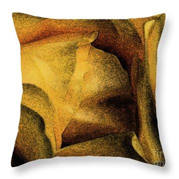 Throw Pillow featuring the photograph Rose Yellow Fresco by Jean OKeeffe Macro Abundance Art