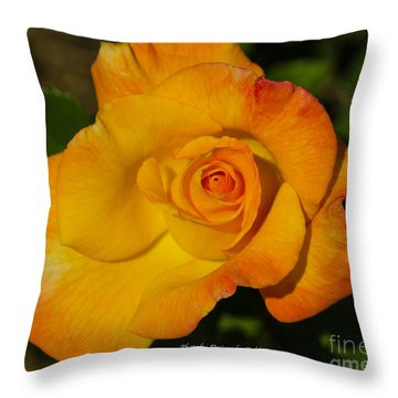 Throw Pillow featuring the photograph Rose Yellow Red by Debby Pueschel